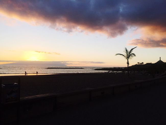 Sunset in Tenerife Sunset Sea Beach Tranquil Scene Scenics Beauty In Nature Tranquility Sky Nature Silhouette Horizon Over Water Water Idyllic Outdoors No People Sand Day First Eyeem Photo