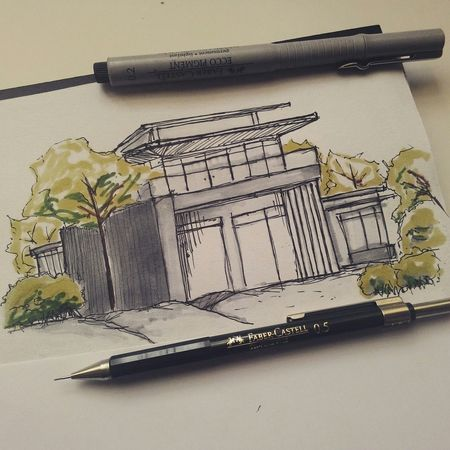 Simple building mix with nature Check This Out Architecture Student Architecture ArtWork Sketch Drawing Artline Architectureporn