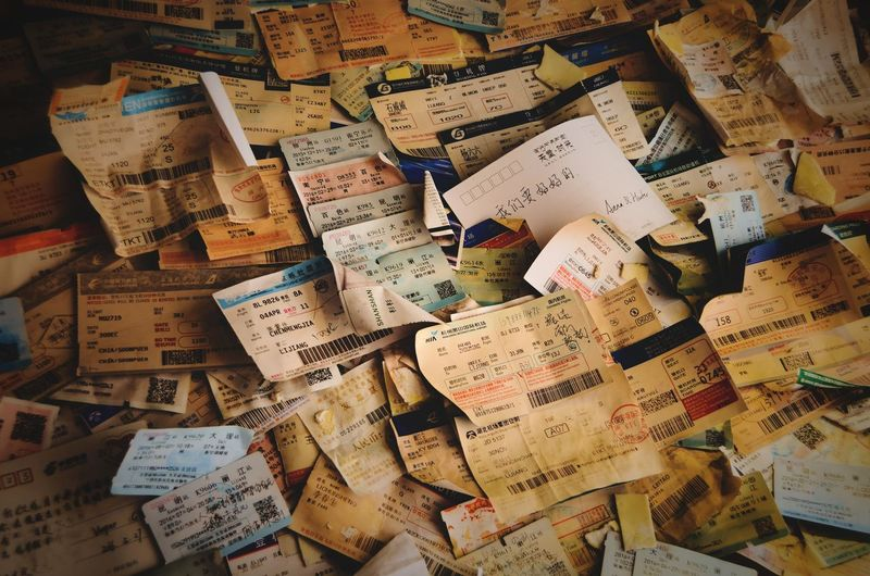 Where People Left Their Tickets Tickets Postcard Giftshop Wall Flat Mess Text Backgrounds Communication Full Frame Abundance Large Group Of Objects No People Indoors  Script Non-western Script Close-up Paper Pattern