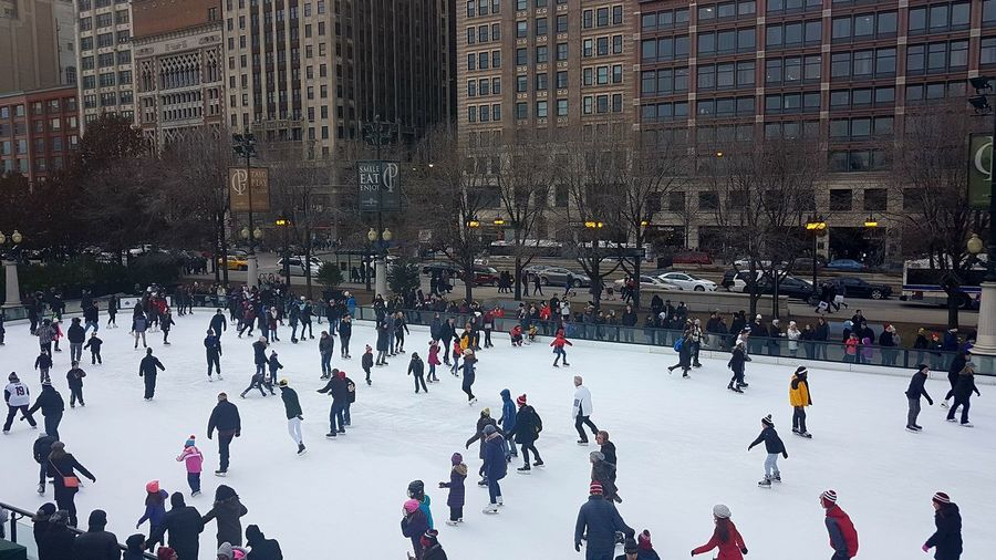 Chicago United States ice skating rink. Winter skating people on a cold cloudy day. Activity Chicago Christmas Christmastime Cold Fun Holiday Ice Skate Ice Skates Ice Skating Ice Skating Rink Joy Lifestyle Outdoors People People And Places Peoplephotography Season  Skate Skyscrapers USA USA Photos USAtrip Winter Winter Wonderland