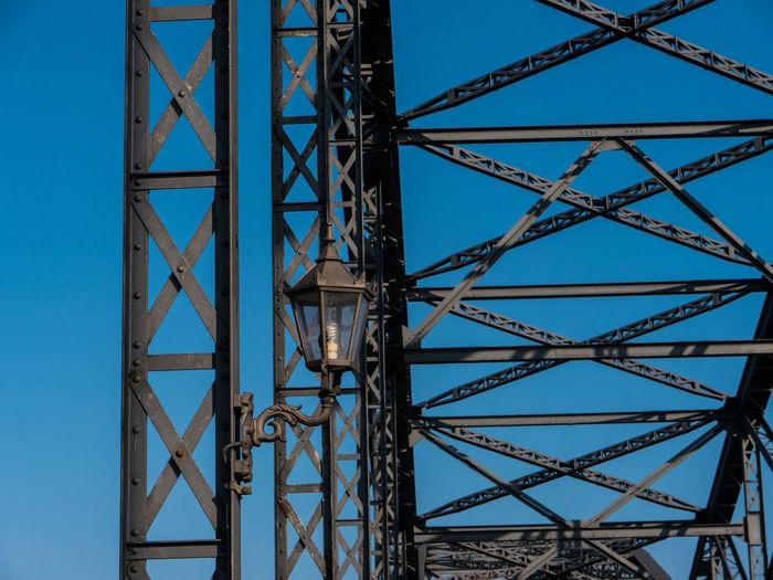 Architecture Blue Bridge - Man Made Structure Bridgeview Clear Sky Close-up Day Elbbrücken Hamburg Hamburg Harbour Hamburg Harburg Hamburgerecken Harburgerelbbrücke Lantern Low Angle View No People Outdoors Sky Steelbridge Old Bridge Steel Bridge