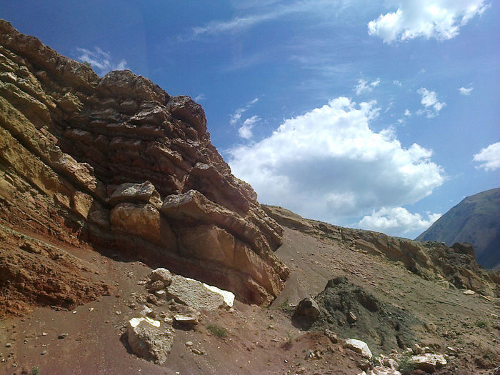 Scenic view of rock formation against sky
