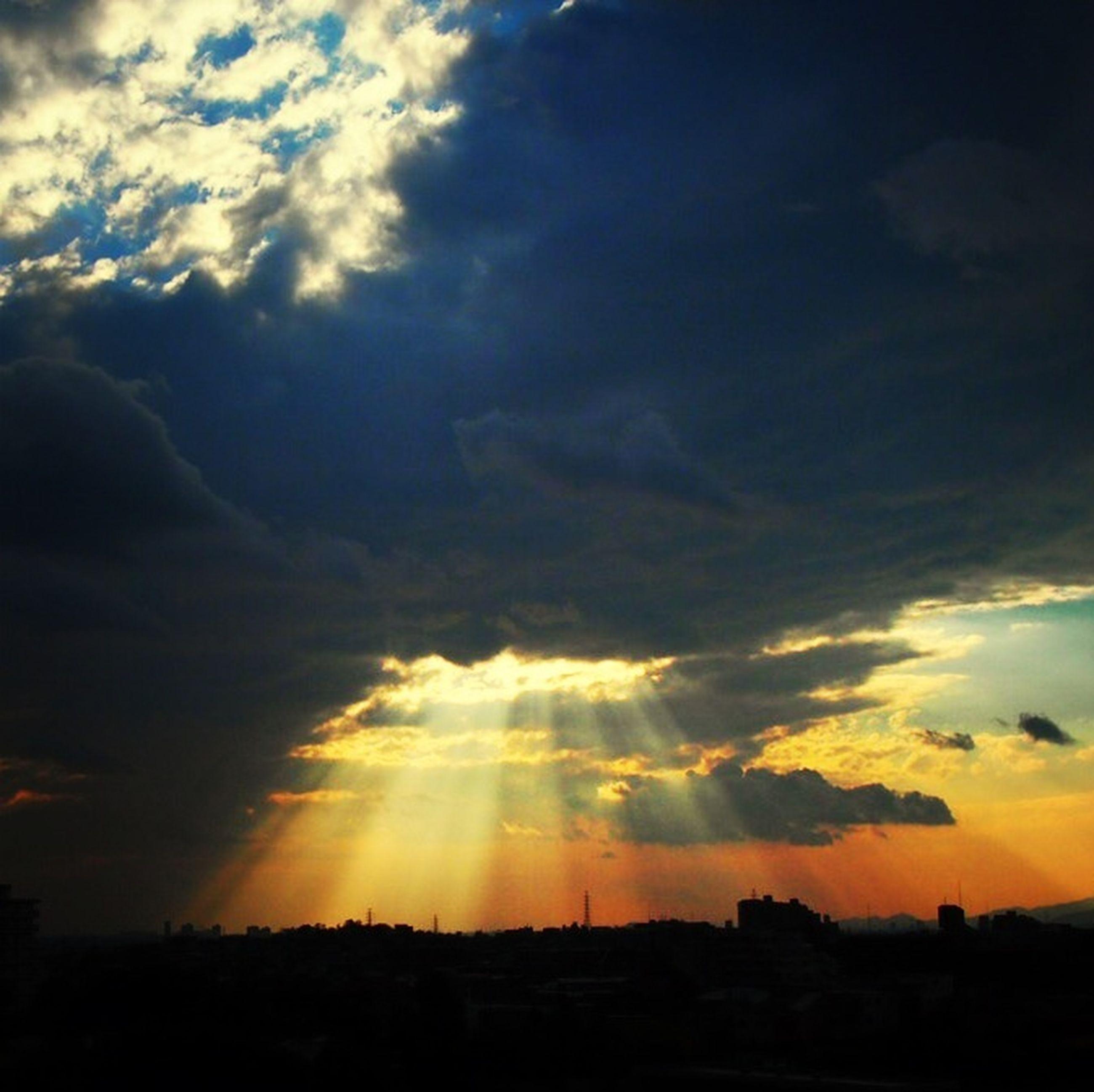sunset, sky, scenics, silhouette, tranquil scene, beauty in nature, cloud - sky, tranquility, landscape, nature, cloud, idyllic, dramatic sky, cloudy, orange color, moody sky, sunlight, outdoors, majestic, cloudscape