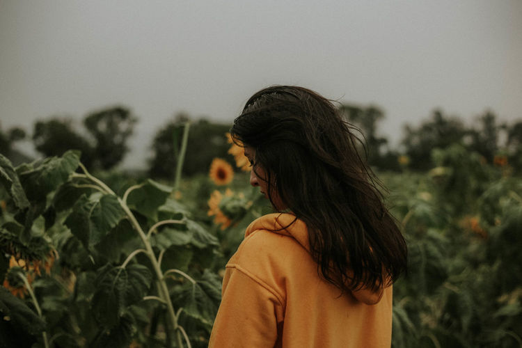 Rear view of young woman standing at sunflower farm