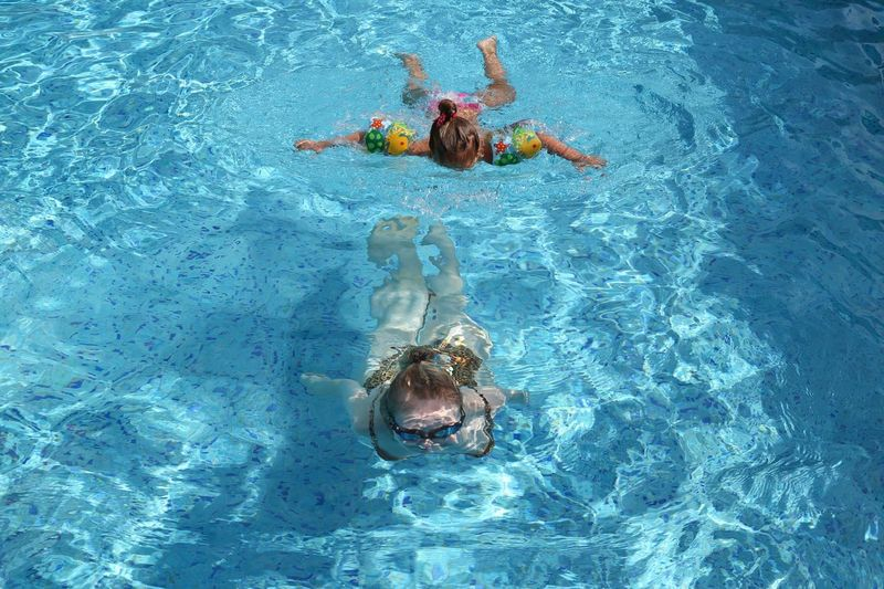 High angle view of female friends swimming in pool