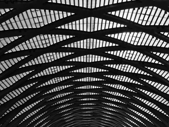 Dome Architecture Pattern Built Structure Indoors  No People Low Angle View Day Monochrome Photography Black And White Metal Railway Station Scene