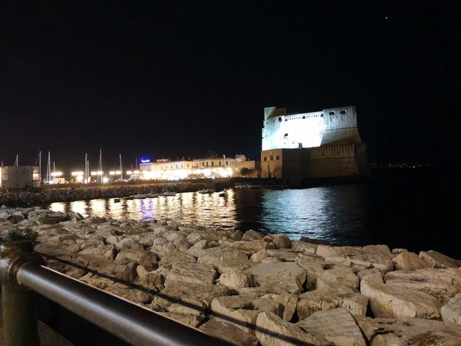 Castel dell'ovo Light And Shadow Mergellina, Naples Sea Napoli Castle Water Illuminated Night Architecture Building Exterior Built Structure Sky