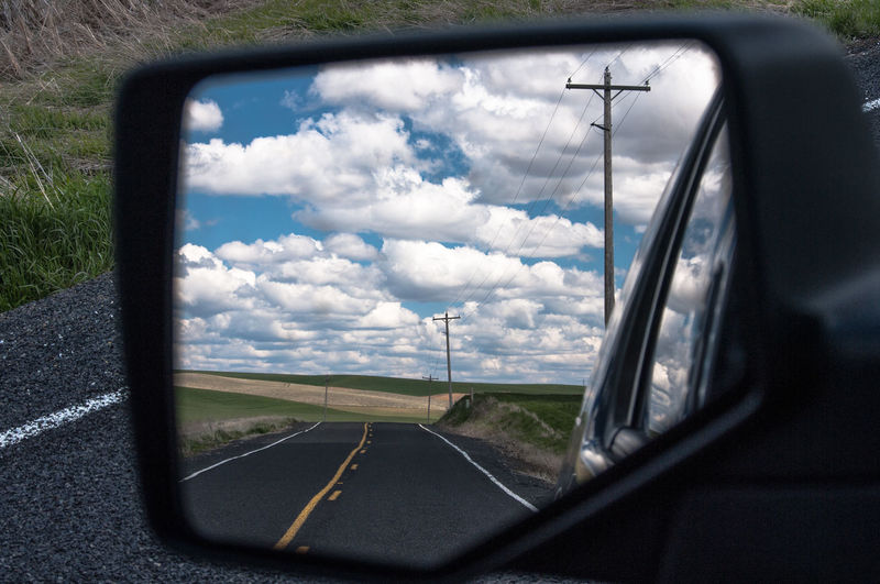 In my rear view mirror Rear View Mirror Washington State Road Country Road The Palouse Behind Me