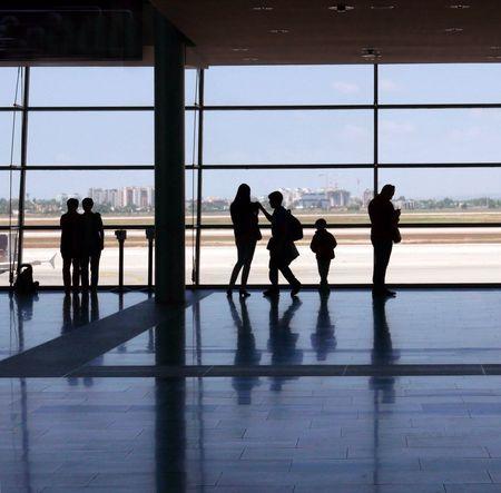 Airport Window People Near Window Travel Against The Light Silhouettes Israel Tel Aviv