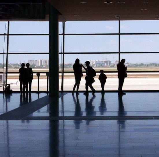 Airport Window People Near Window Travel Against The Light Silhouettes Israel Tel Aviv