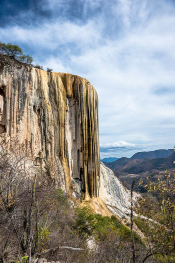 Low Angle View Of Rock Formations At Hierve El Agua