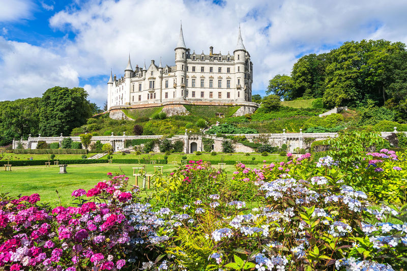 Dunrobin Castle and park, Golspie, Scotland Dunrobin Castle Great Britain Scotland Architecture Beauty In Nature Building Building Exterior Built Structure City Cloud - Sky Day Flower Flowerbed Flowering Plant Growth Highlands History Nature No People Outdoors Plant Sky The Past Travel Destinations Tree Uk