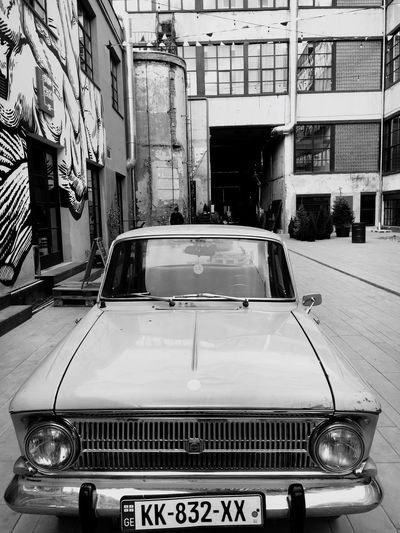 Love old cars.. 🚘 Transportation Mode Of Transport Car Land Vehicle Outdoors Day Old-fashioned No People Vintage Old Car Tbilisi Fabrika Blackandwhite My Photography Number Plate