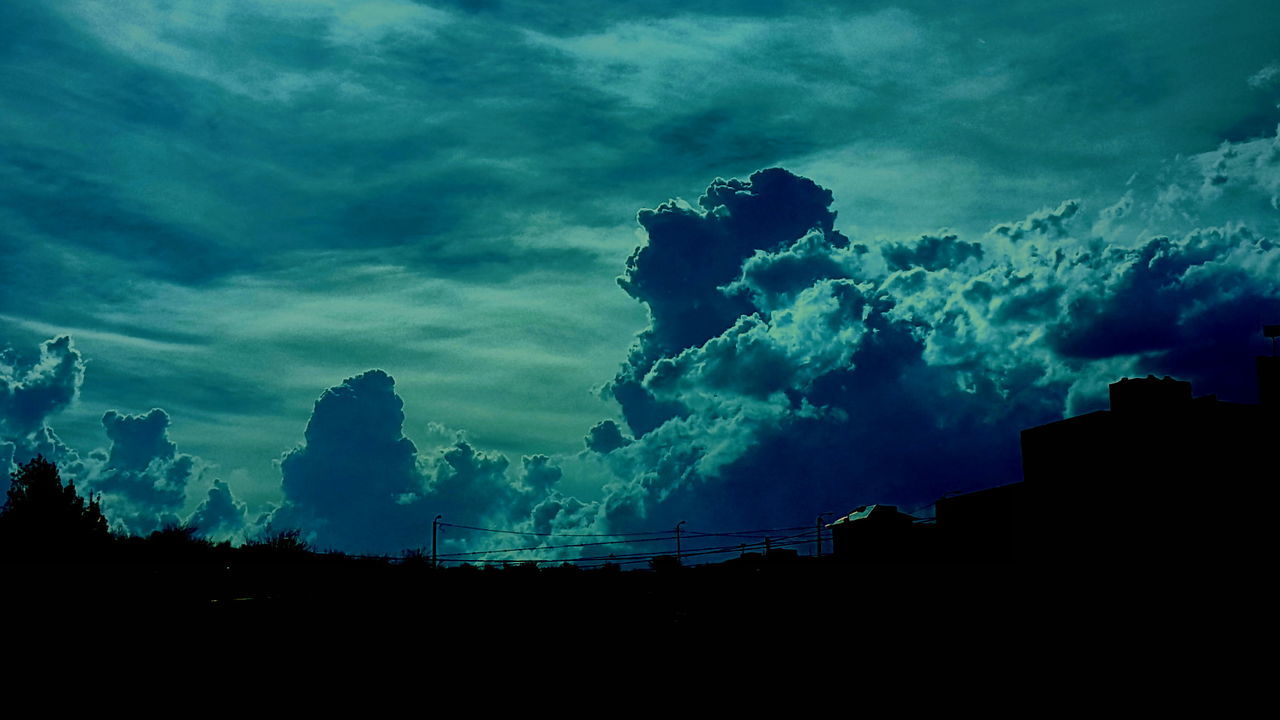 silhouette, sky, cloud - sky, low angle view, no people, beauty in nature, nature, outdoors, architecture, building exterior, day, tree