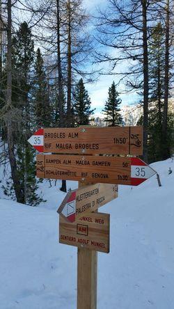 Signage Wintertime Day Val Di Funes Villnöss Südtirol Landscape Nature Snow Snow Covered