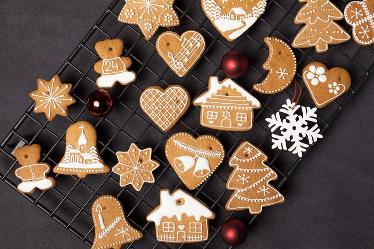 Sweet Food Still Life High Angle View Design Shape Baked Indoors  Table Cookie Variation Decoration No People Holiday Food Celebration Sweet Food And Drink Christmas