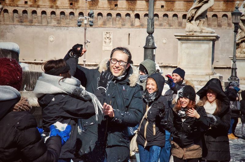 Young people having fun in the snow after 6 years of snowless Rome 🇮🇹 Architecture Built Structure Real People Group Of People Building Exterior The Past Adventures In The City History City Day Men Lifestyles Large Group Of People Clothing Crowd Street Outdoors Leisure Activity Women The Portraitist - 2018 EyeEm Awards