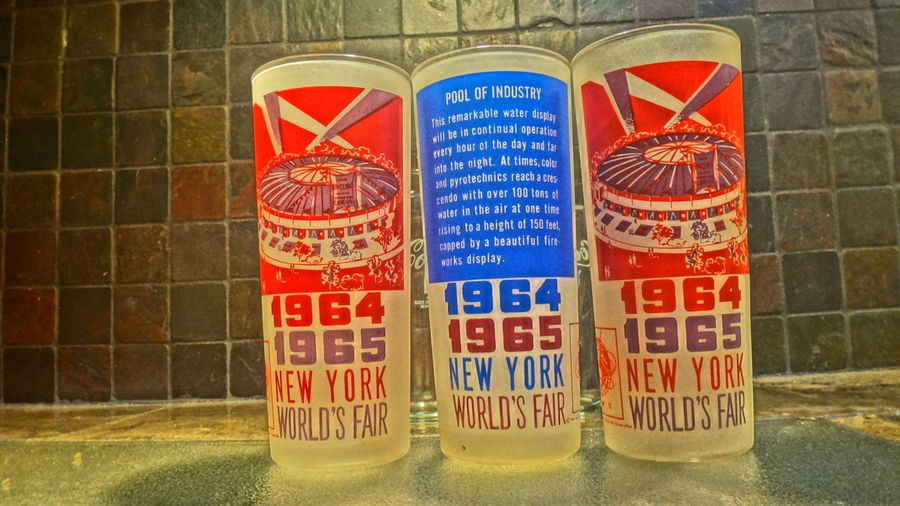 attic find 1960's Antique New York Antique Glasses Architecture Close-up Collins Glass Communication Day Highball Glass New York Worlds Fair No People Outdoors Text