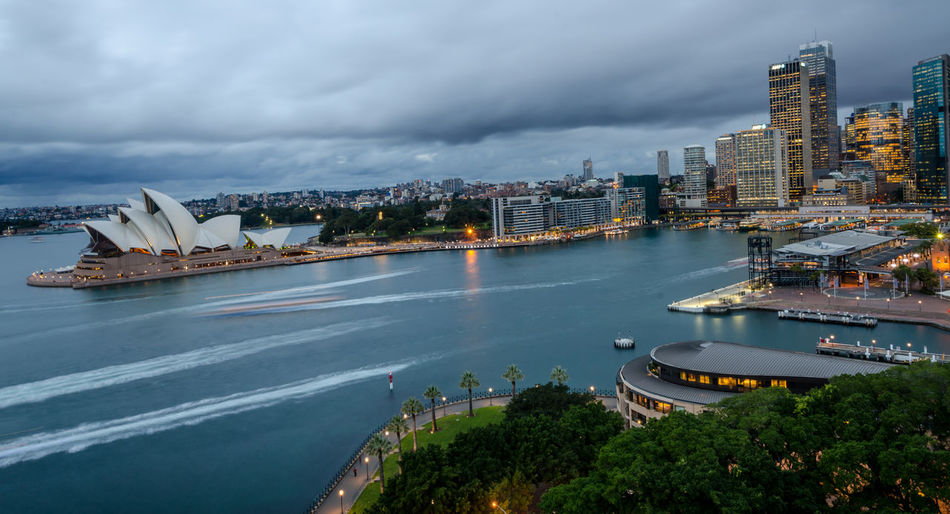 High angle view of sydney harbor against sky