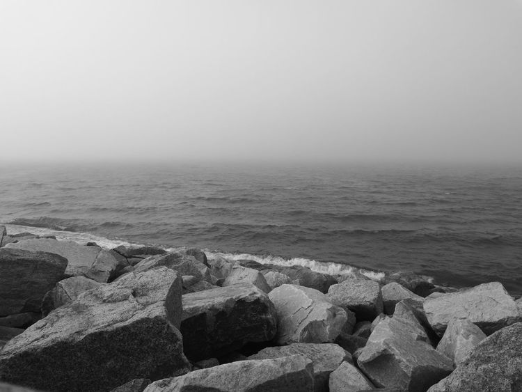 Sea Baltic Stone Władysławowo Black & White Foggy Weather