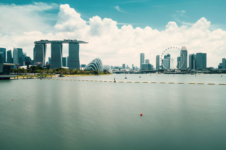 Singapore skyline, view from marina barrage, filter effect