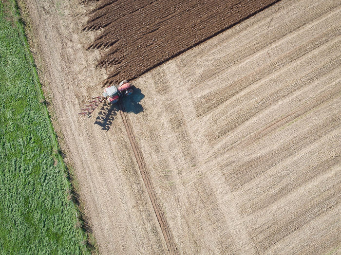 Directly above shot of tractor on farm