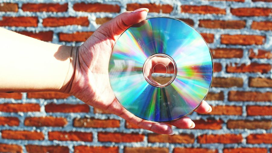 Cropped hand of woman holding compact disc against brick wall