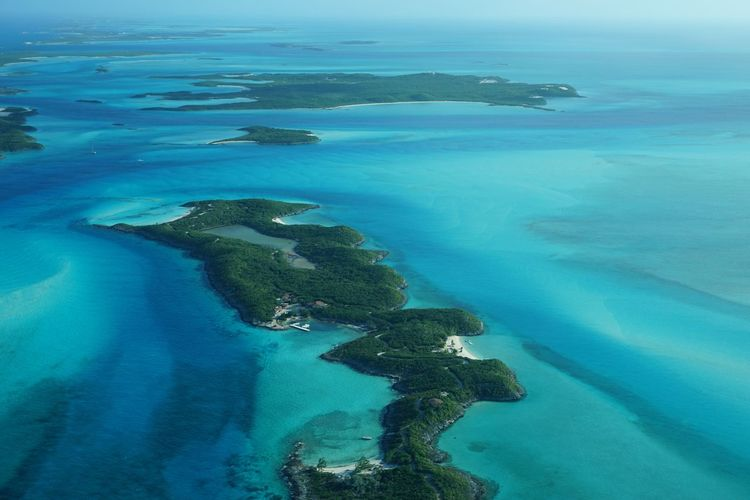 Aerial view of little hall pond cay in sea
