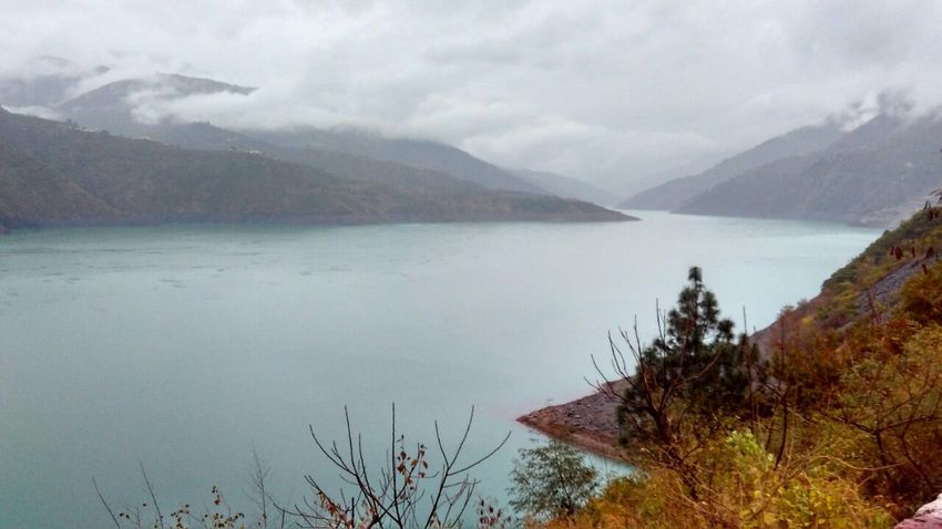 Beauty In Nature Blue Lake Cloud - Sky Cloudy Day Lake Landscape Mountain Nature No People Outdoors Scenery Scenics Sky Tranquil Scene Tranquility Tree Water
