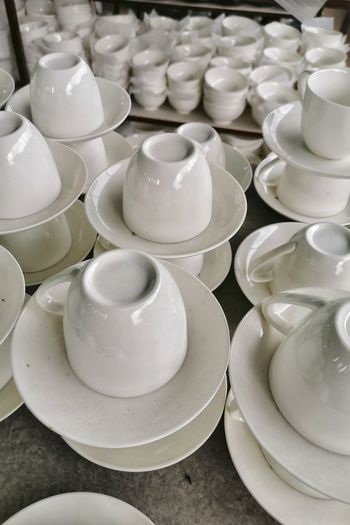 High angle view of empty cups on table