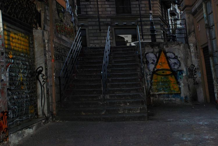 Road to perdition Triangle Yellow Shadows Lights Steps Nights  Friends City Steps And Staircases Steps Staircase Street Art Graffiti Architecture Built Structure Riot Ghetto Protest Marching Spray Paint Surrounding Wall