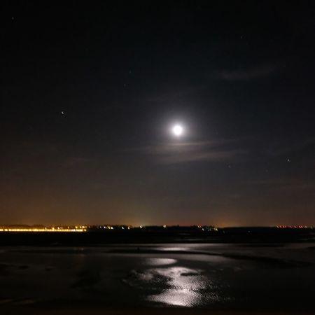 Night Nightphotography Sea Landscape Astronomy Space Star - Space Illuminated Moon Constellation Galaxy Moonlight Full Moon Sky Half Moon Moon Surface