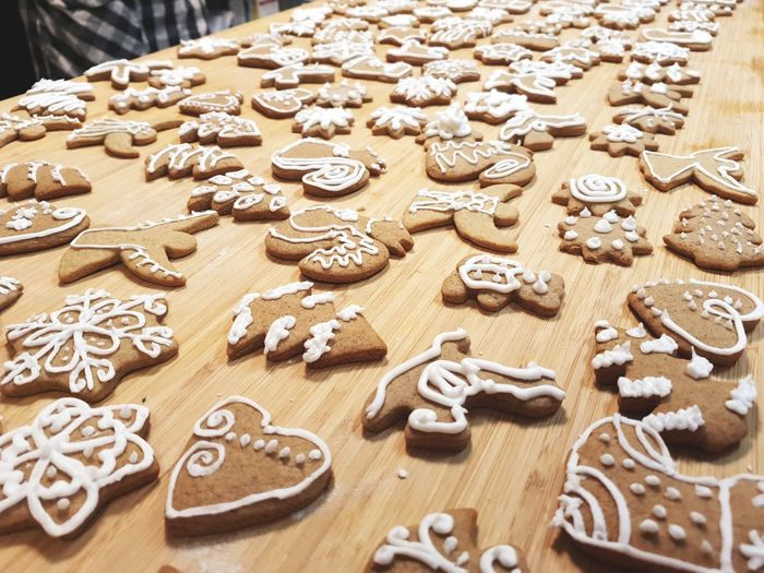 High angle view of cookies on table