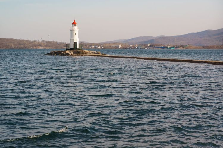 Tokarevskiy lighthouse in Vladivostok, Russia Lighthouse Sea Water Architecture Coast Tokarevskiy Tourism Vladivostok Evening Primorye Outdoors