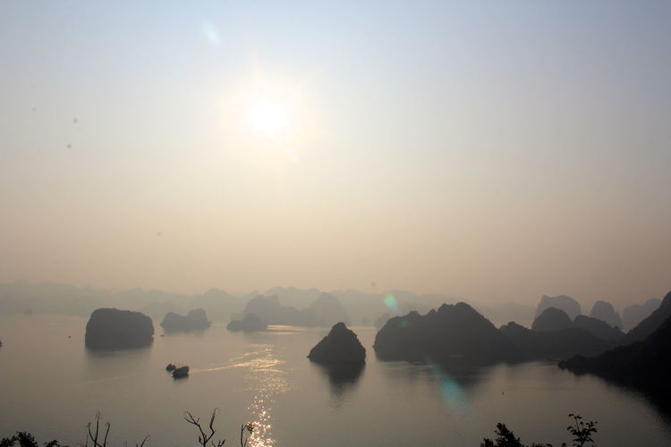 Scenic View Of Halong Bay By Rock Formations Against Clear Sky