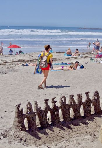 Ocean Beach, San Diego California beach sand castle. California Sand Castle Travel Wanderlust Beach Beachgoers Landscape Ocean Ocean Beach Outdoors People Sand Summer Sunshine Vacation Words