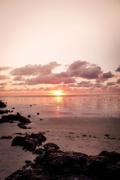 Freedom Freshness Beach Clouds Horizon Horizon Over Water Idyllic Island Mauritius No People Orange Color Sea Silence Sky Solitude Sun Sunlight Sunrise Water