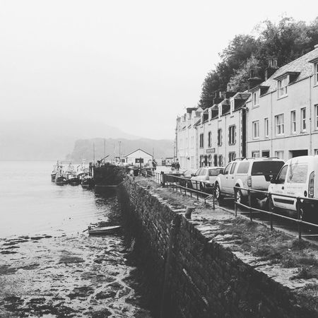 Water Sky Harbor Harbor View B&w Blackandwhite Schottland Scotland Isle Of Skye