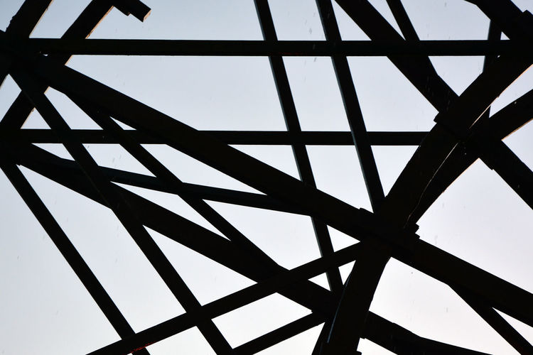 Architecture Backgrounds Built Structure Ceiling Clear Sky Close-up Day Design Full Frame Geometric Shape Girder Indoors  Low Angle View Metal Nature No People Pattern Roof Beam Silhouette Sky Skylight