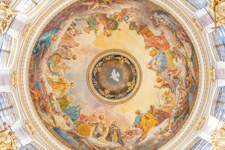 Architecture Religion Built Structure Place Of Worship Art And Craft Belief Mural Representation Low Angle View Spirituality Human Representation No People Dome Ceiling Building Indoors  Cupola Travel Destinations Fresco Directly Below Ornate Russia