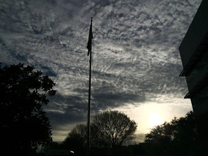 Cloudy skies in