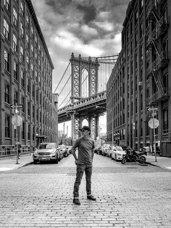 A quiet Sunday morning on Washington street. Blackandwhite Bridge Brooklyn City Life City Street Connection International Landmark Manhattan Bridge New York Person Perspective Self Portrait Street Summer Urban Vertical Walking Www.benjaminvanderspek.com Monochrome Photography Embrace Urban Life