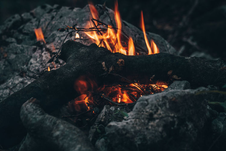 Burning Firewood Wood - Material Close-up Campfire Outdoors Flame Forest Forest Photography Camping Fire Wood EyeEm Best Shots EyeEm Nature Lover EyeEm Selects Bonfire