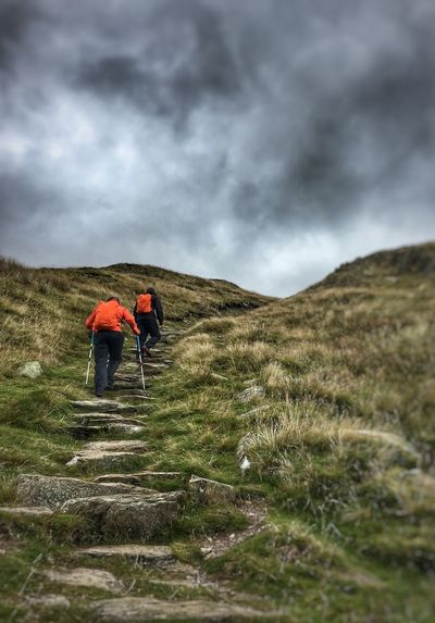 Lake District United Kingdom EyeEmNewHere Rambling Lake District Perspective Stone Steps Steps Hiking Cloud - Sky Real People Sky Two People Leisure Activity Nature Men Landscape Walking