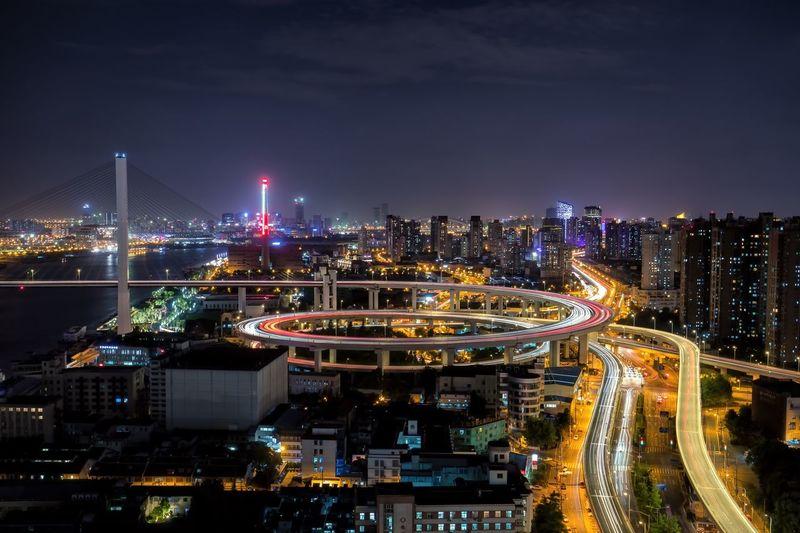 shanghai nanpu bridge at night Night Architecture Illuminated Cityscape City Skyscraper EyeEmNewHere Building Exterior Transportation Modern Sky Speed Development Light Trail Downtown District Built Structure AI Now