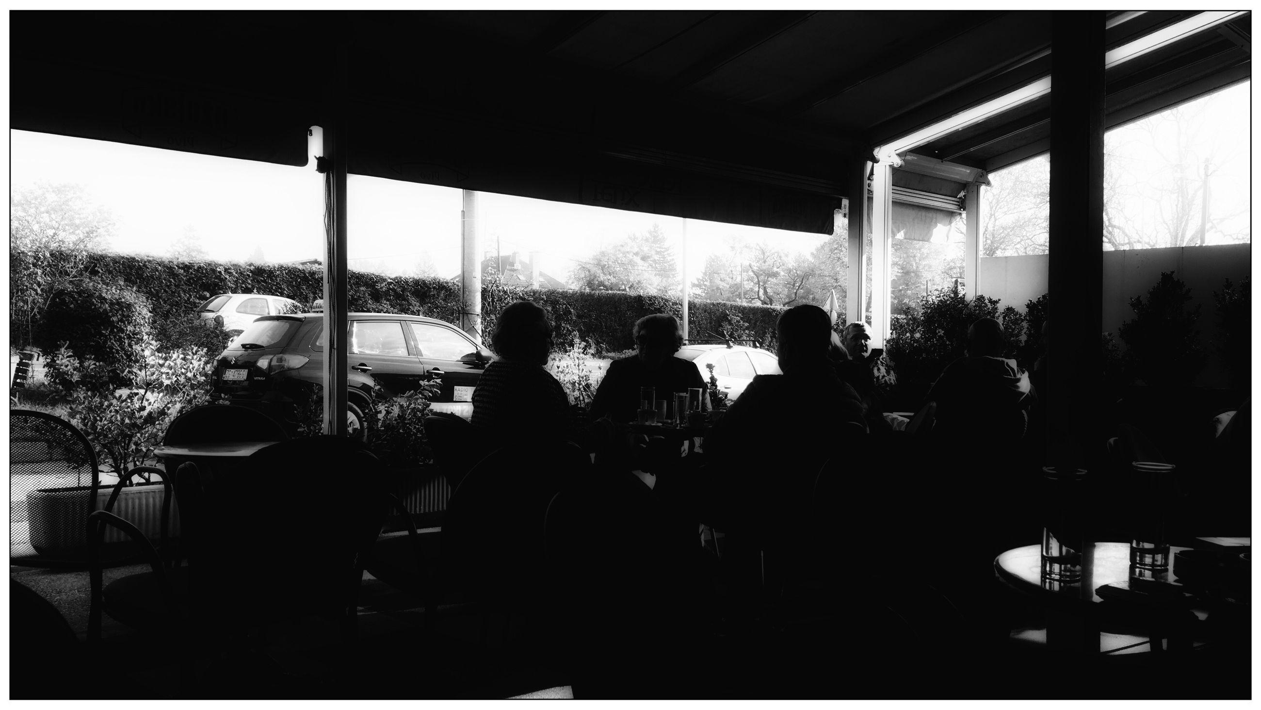 real people, indoors, sitting, tree, men, day, women, friendship, sky, people