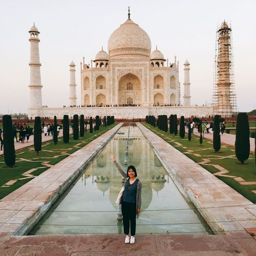 Travel Destinations Cultures History Architecture Travel Real People Dome Tourism Built Structure Adults Only Building Exterior Outdoors One Woman Only Portrait Only Women People Adult Day Sky Taj Mahal Indiapictures EyeEmNewHere