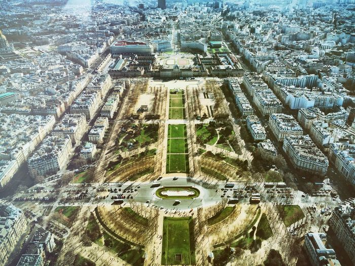High angle view of champ de mars park amidst cityscape