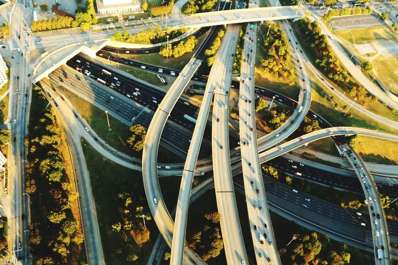 High Angle View Of Traffic On Highway In City At Night