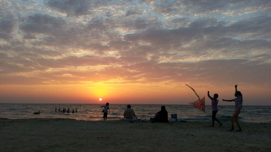 Kite Flying Beach Family Children Picnic Bathing Sunset Sea And Sky Seaside Horizon Over Water Horizon Zallaq Bahrain Middle East Gulf Countries 100 Days Of Summer Lost In The Landscape